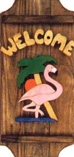 Flamingo on a 3 board sign.