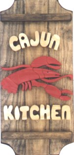 Crawfish on a 3 board sign.