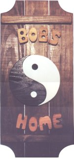Ying Yang on a 3 board sign.