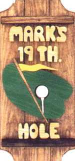 Golf on a 3 board sign.