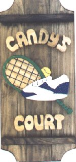 Tennis on a 3 board sign.